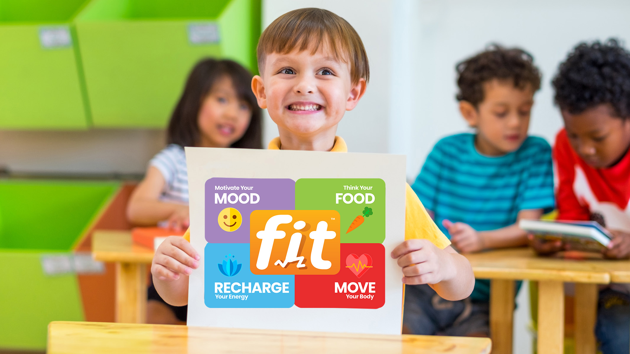 Smiling Boy Holding fit Sign - Sanford fit