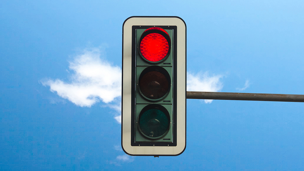Stoplight at a red light
