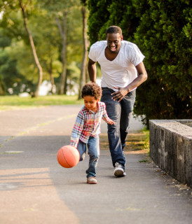 Family playing basketball together - Sanford fit
