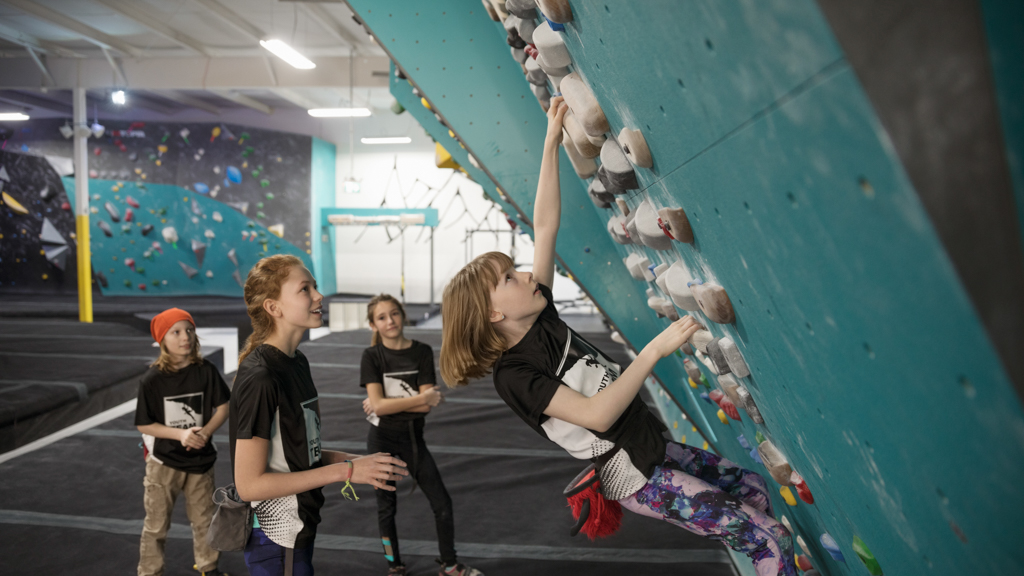 Children at a rock climbing facility - Sanford fit