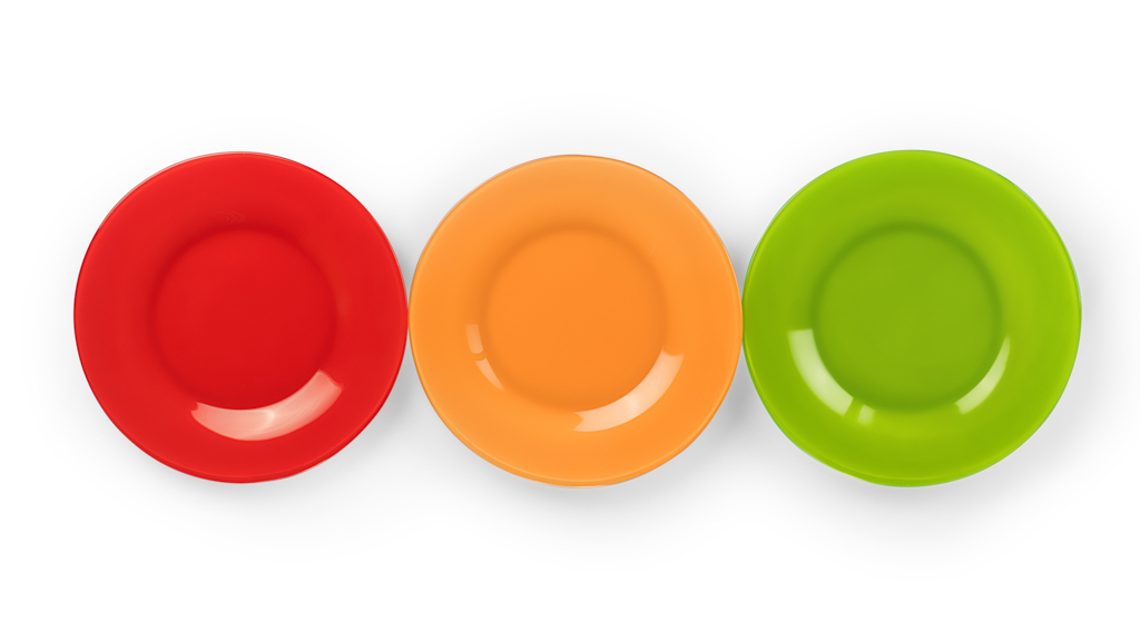 Red, orange, and green plates - Sanford fit