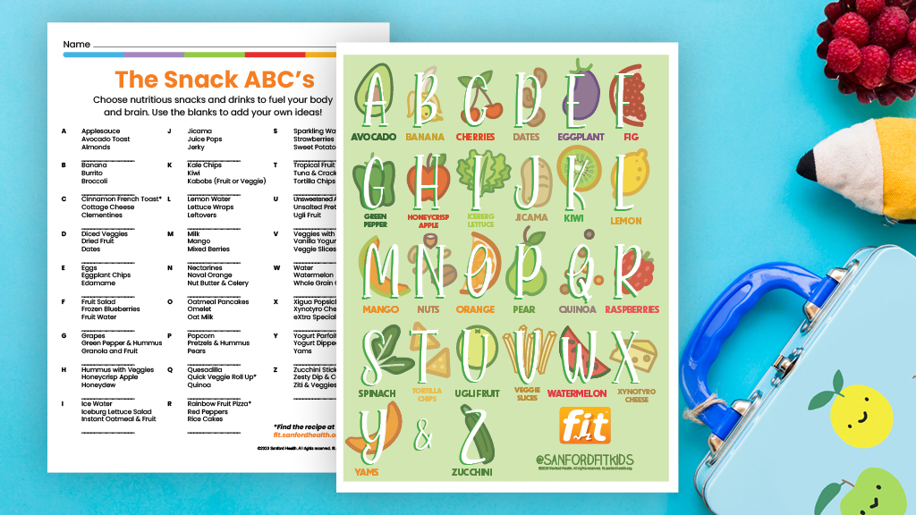 Snack ABCs Printable for grades 3-5
